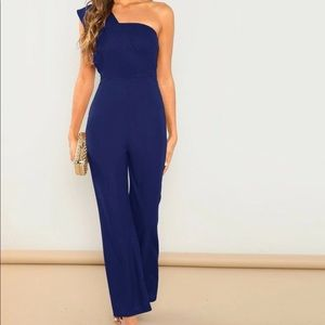 One shoulder flair leg solid jumpsuit- size 6